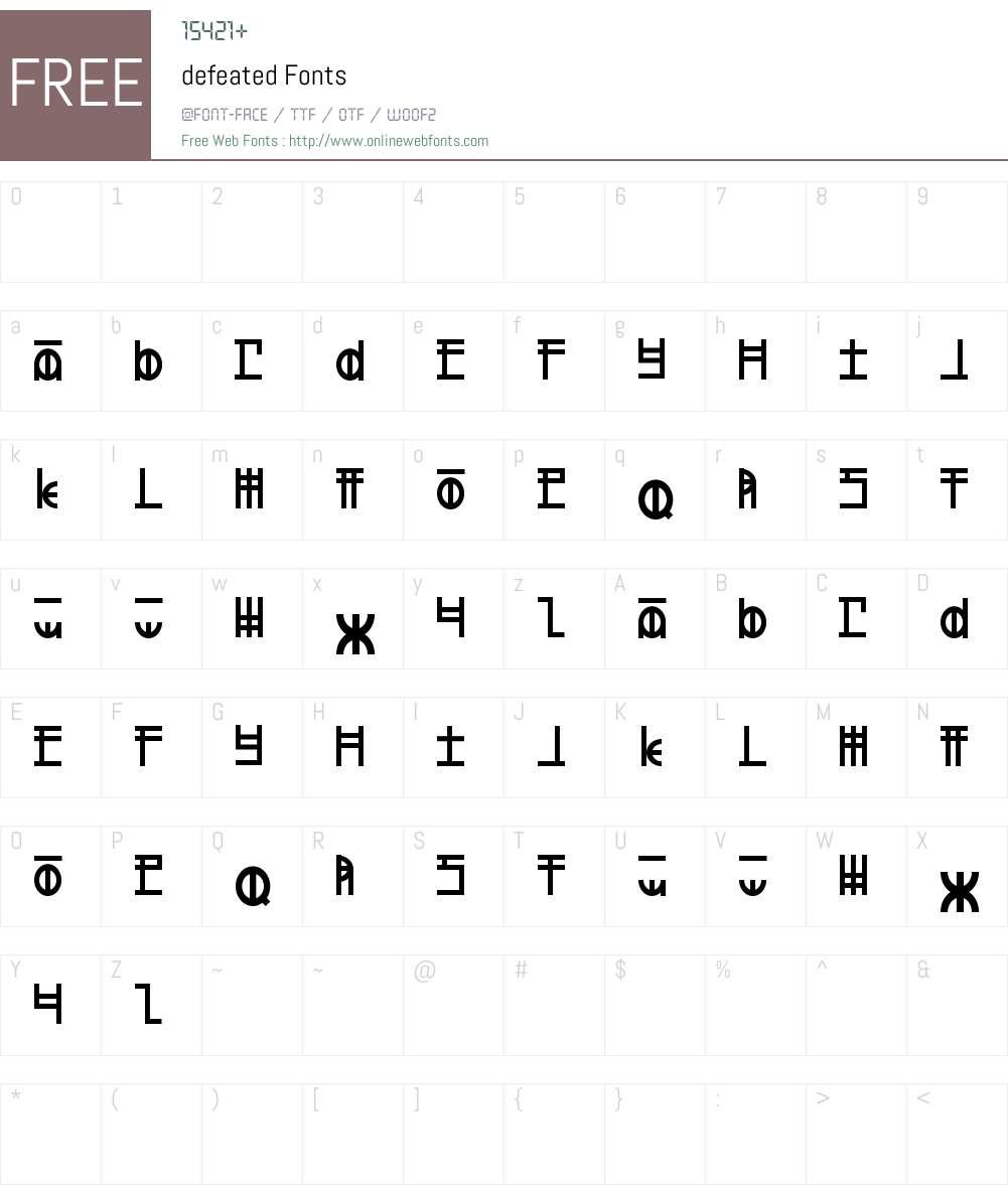 defeated Font Screenshots