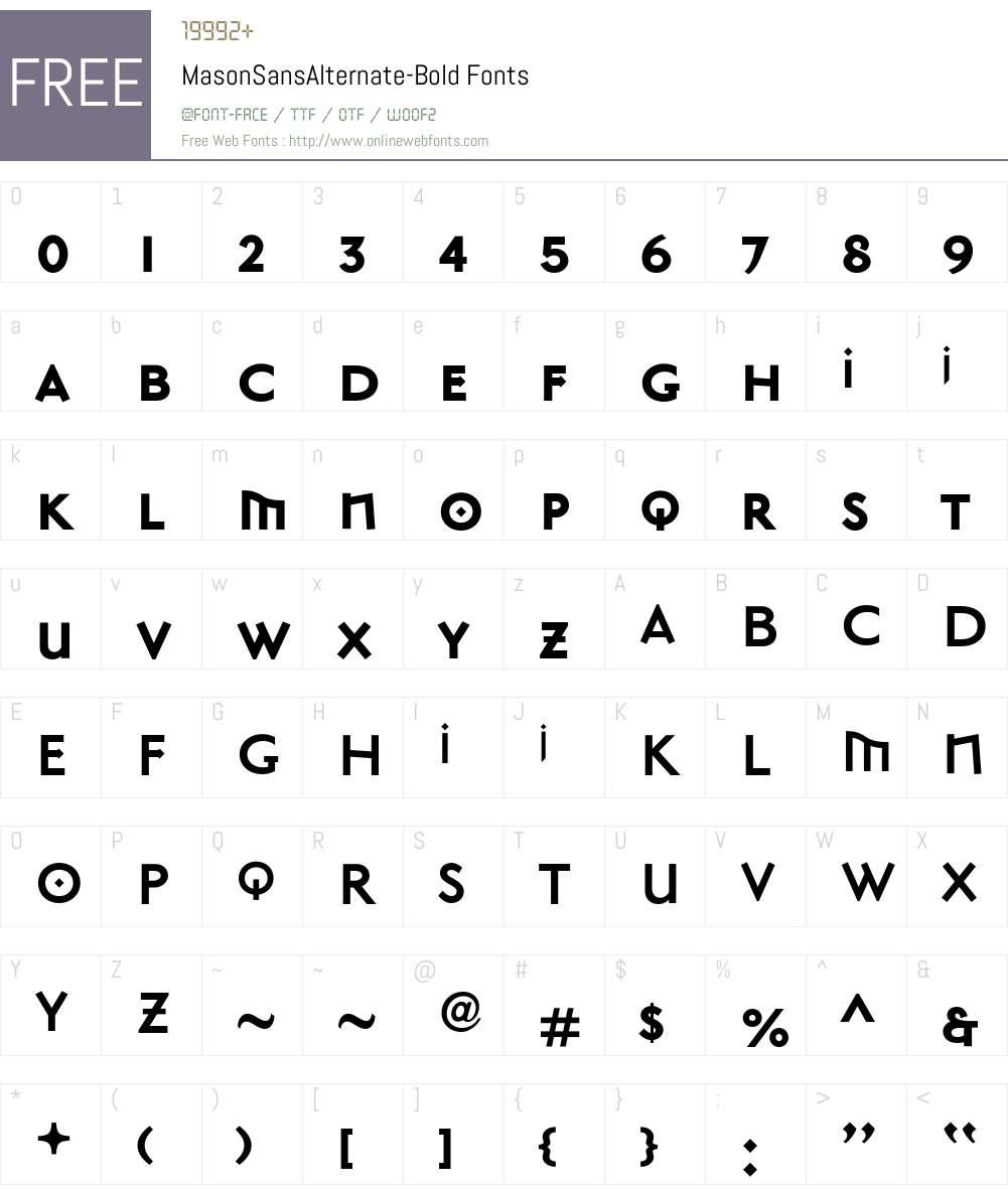 MasonSansAlternate Font Screenshots