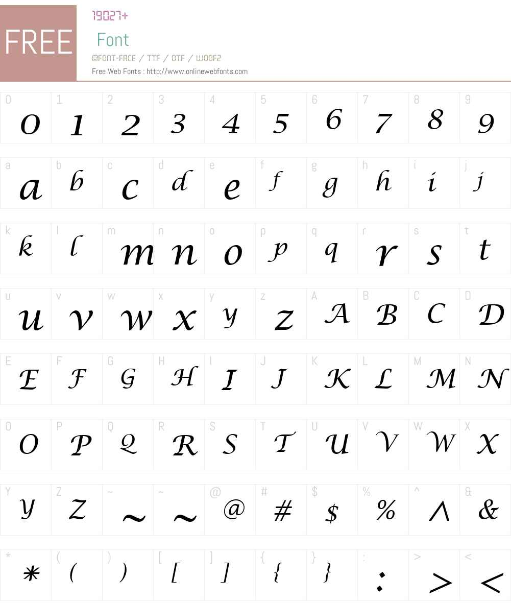 LucidaCalligraphyW01 Font Screenshots