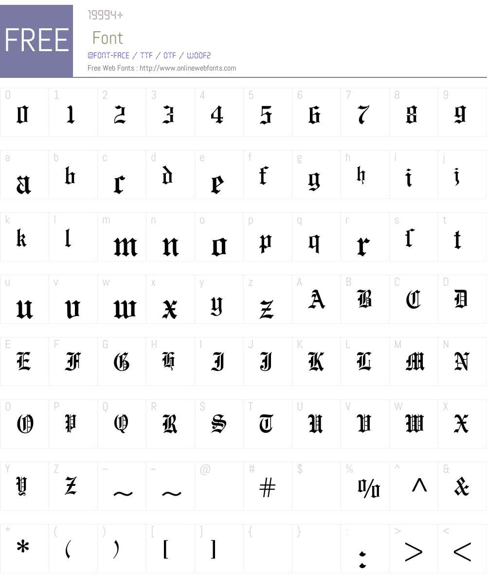 Engravers Old English BQ Font Screenshots