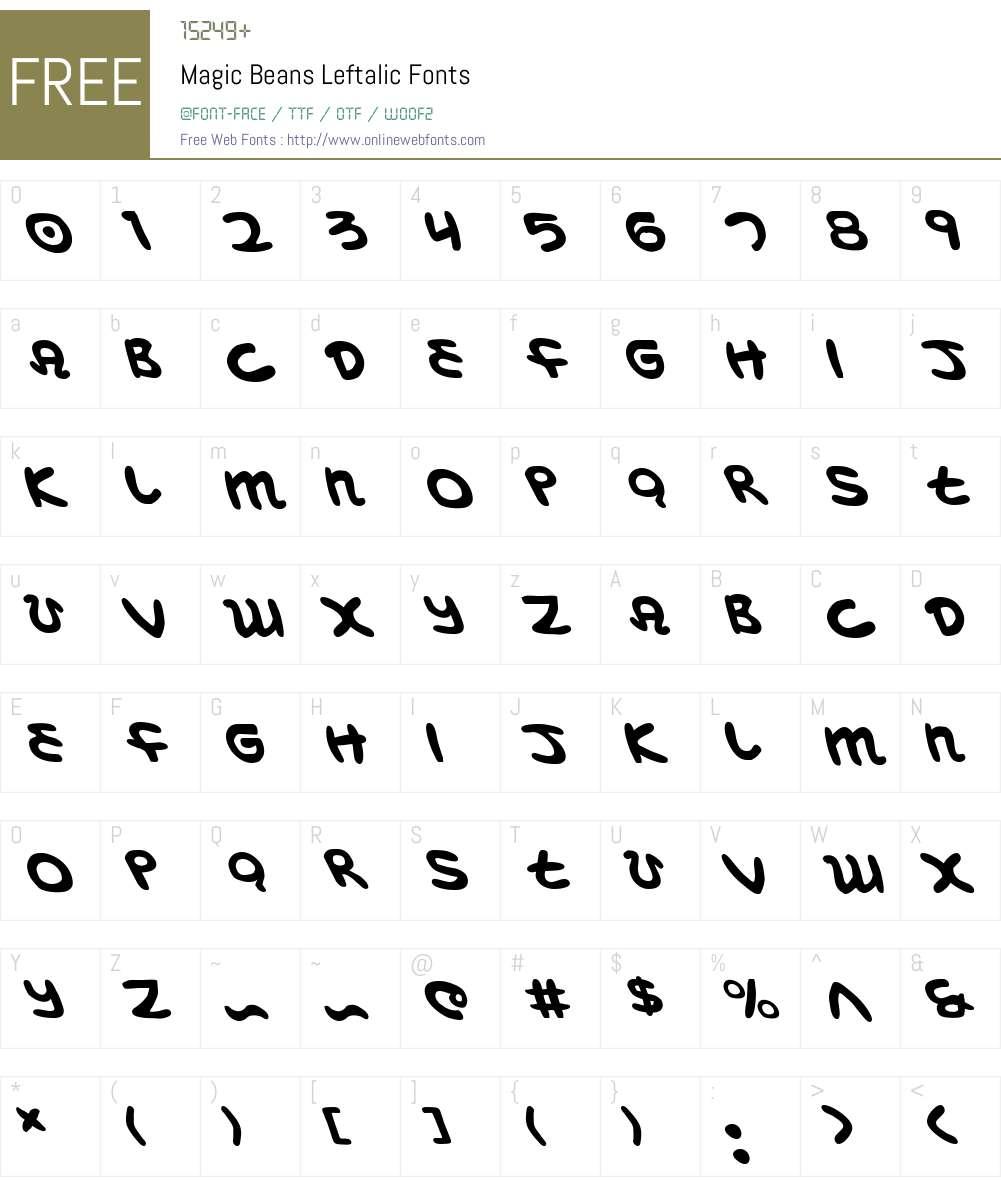 Magic Beans Leftalic Font Screenshots