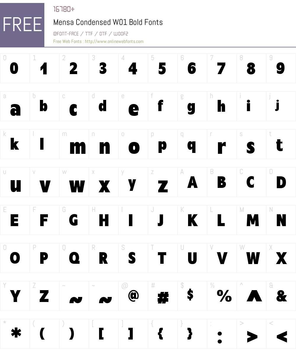 MensaCondensedW01-Bold Font Screenshots