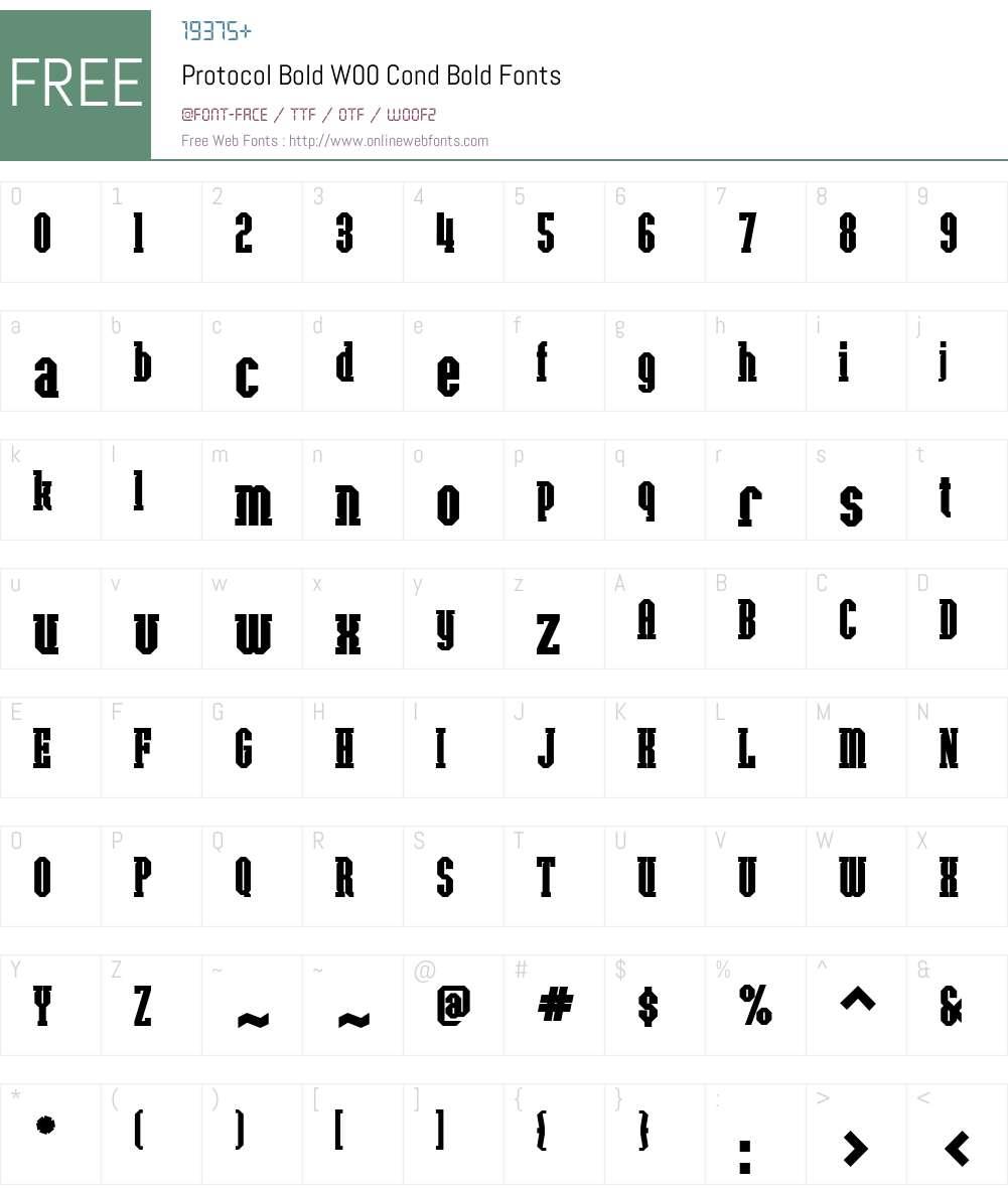 ProtocolBoldW00-CondBold Font Screenshots