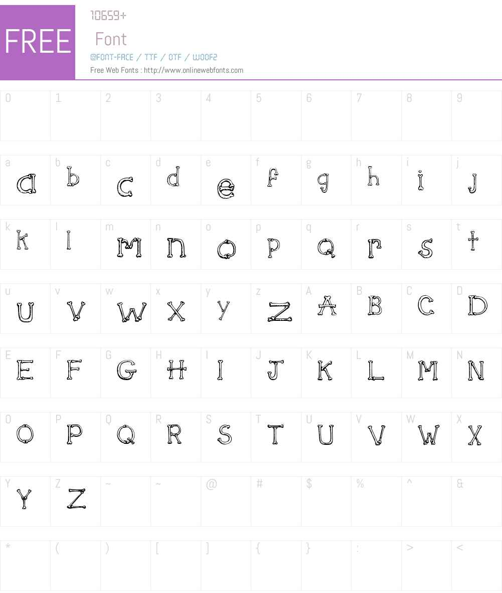 SketchBones Font Screenshots