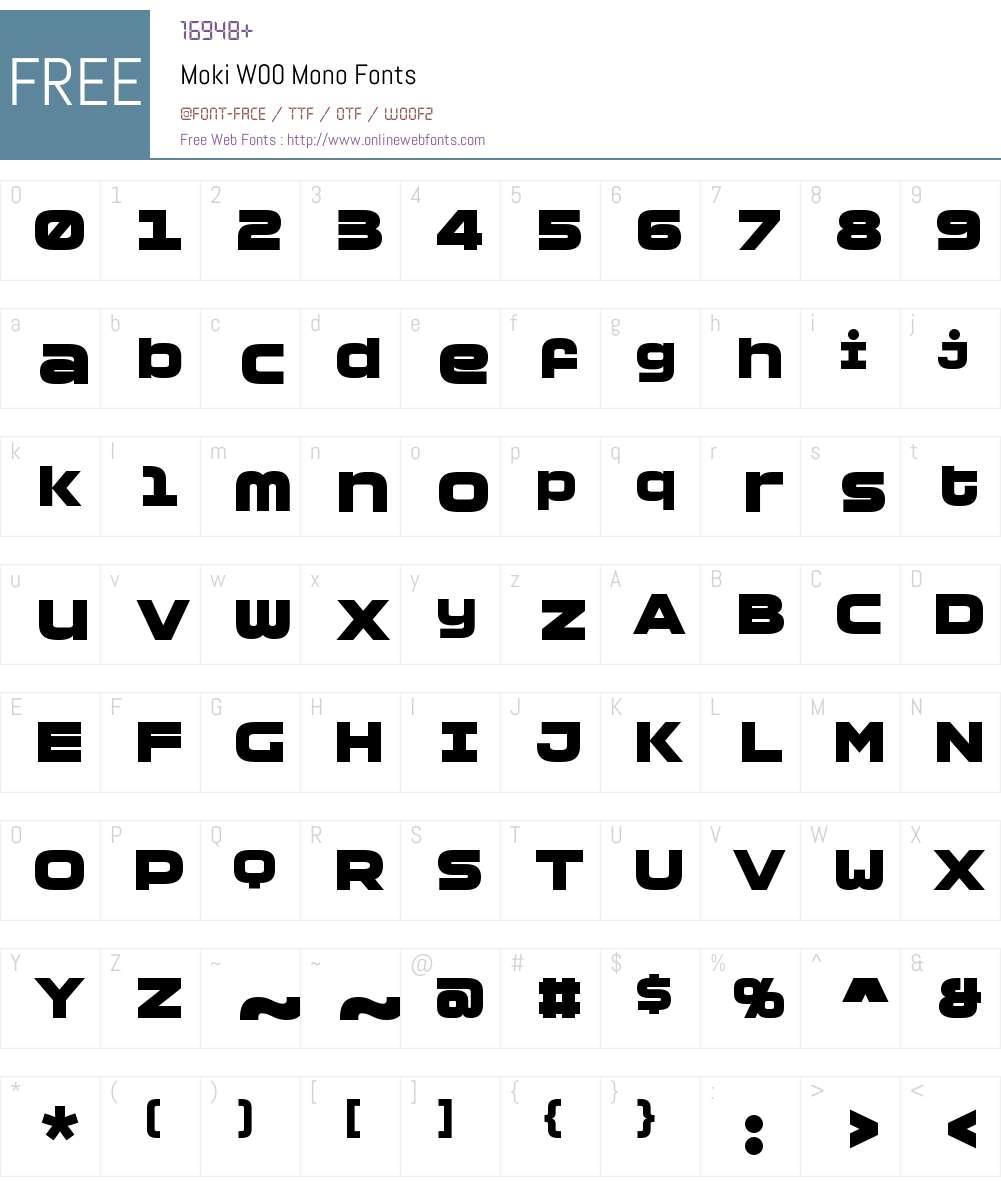 MokiW00-Mono Font Screenshots