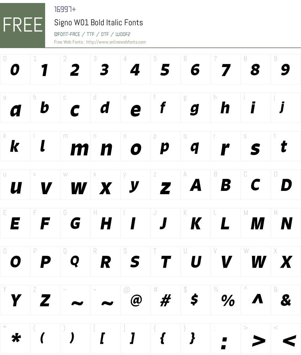 SignoW01-BoldItalic Font Screenshots