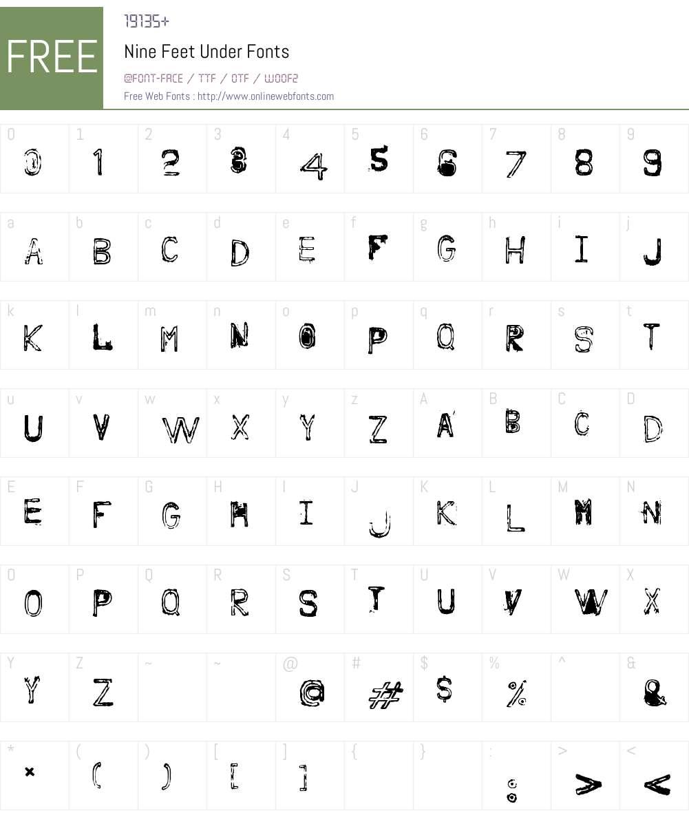 Nine Feet Under Font Screenshots