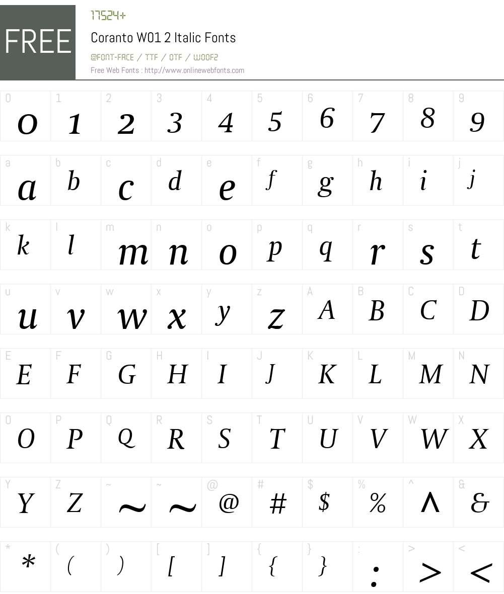 CorantoW01-2Italic Font Screenshots