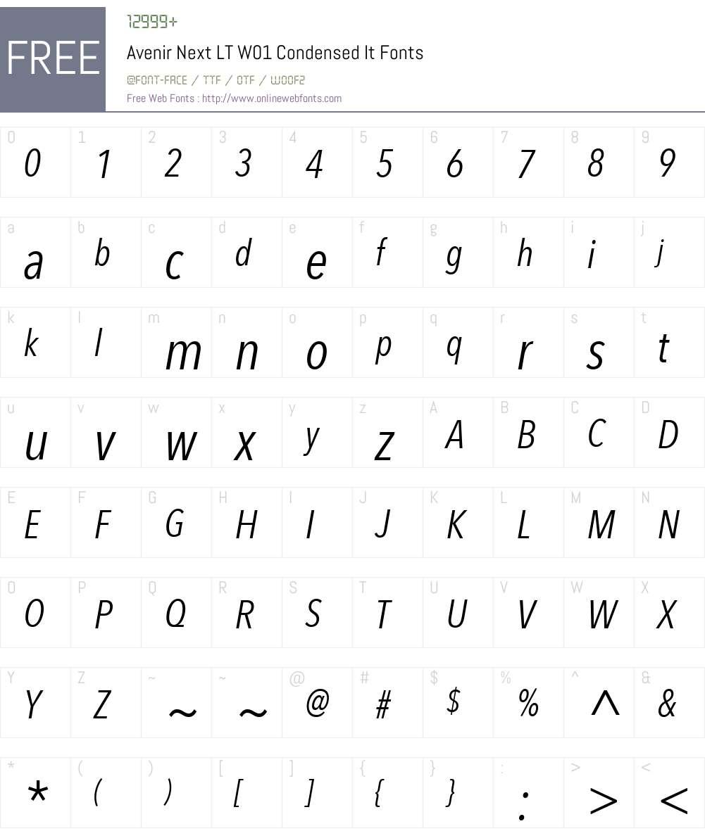 AvenirNextLTW01-CondensedIt Font Screenshots