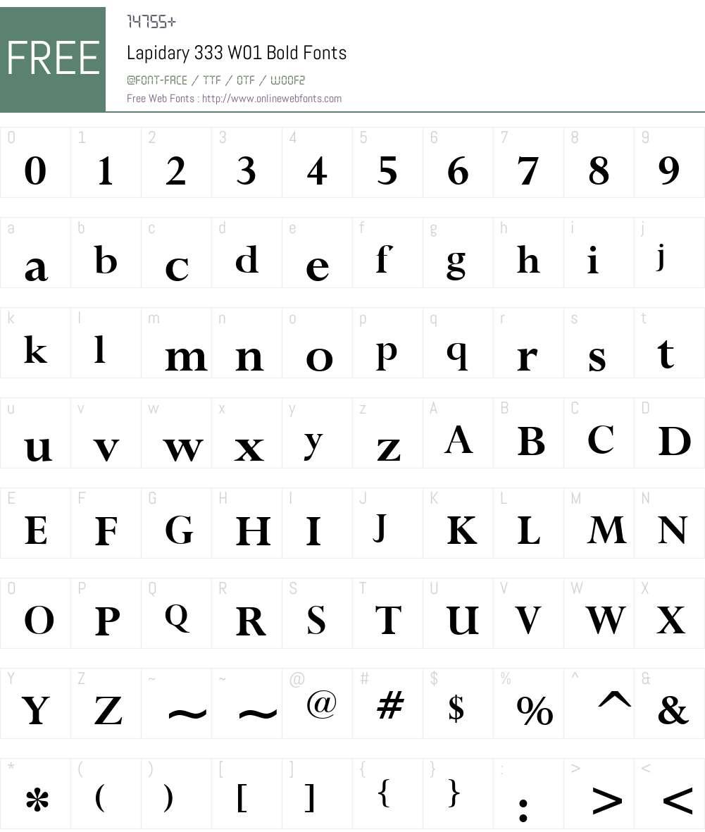 Lapidary333W01-Bold Font Screenshots