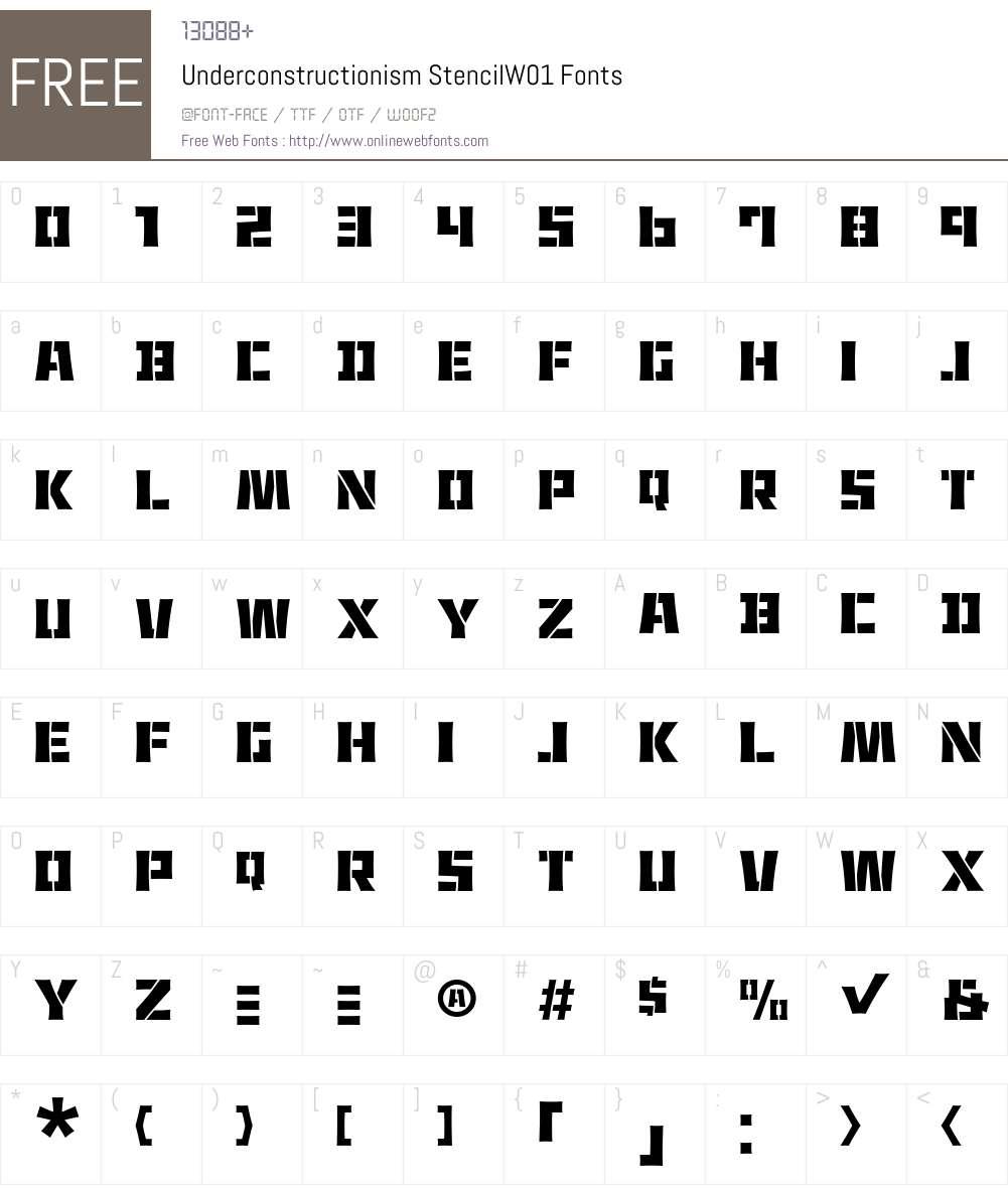 UnderconstructionismStencilW01 Font Screenshots