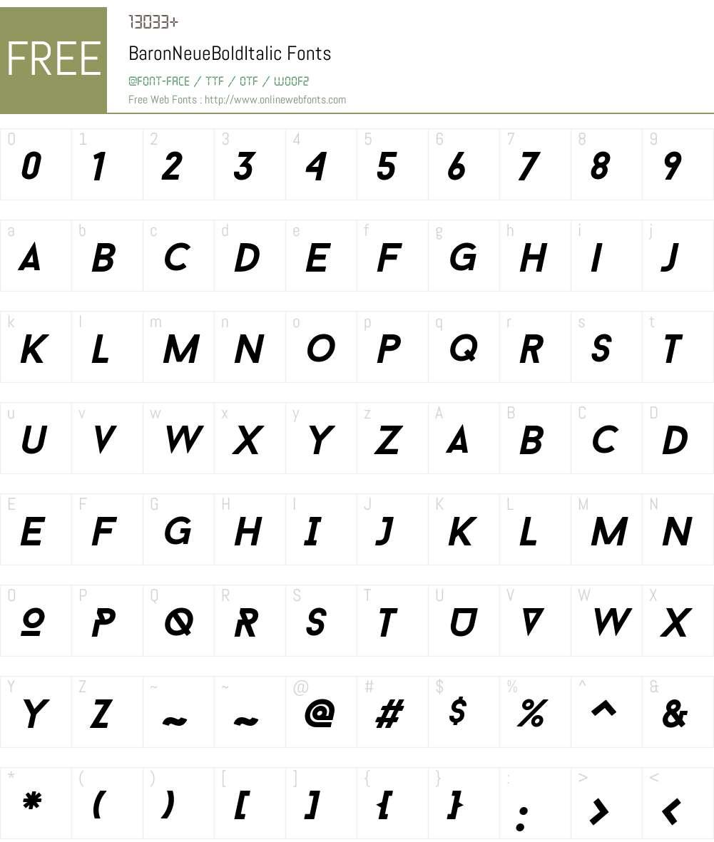 Baron Neue Bold Italic Font Screenshots