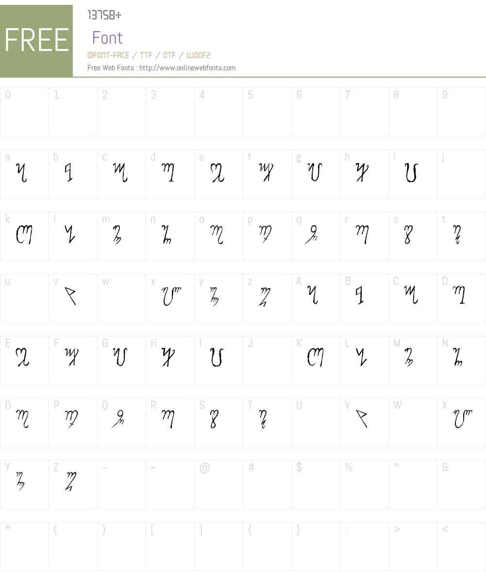 Theban Alphabet Font Screenshots