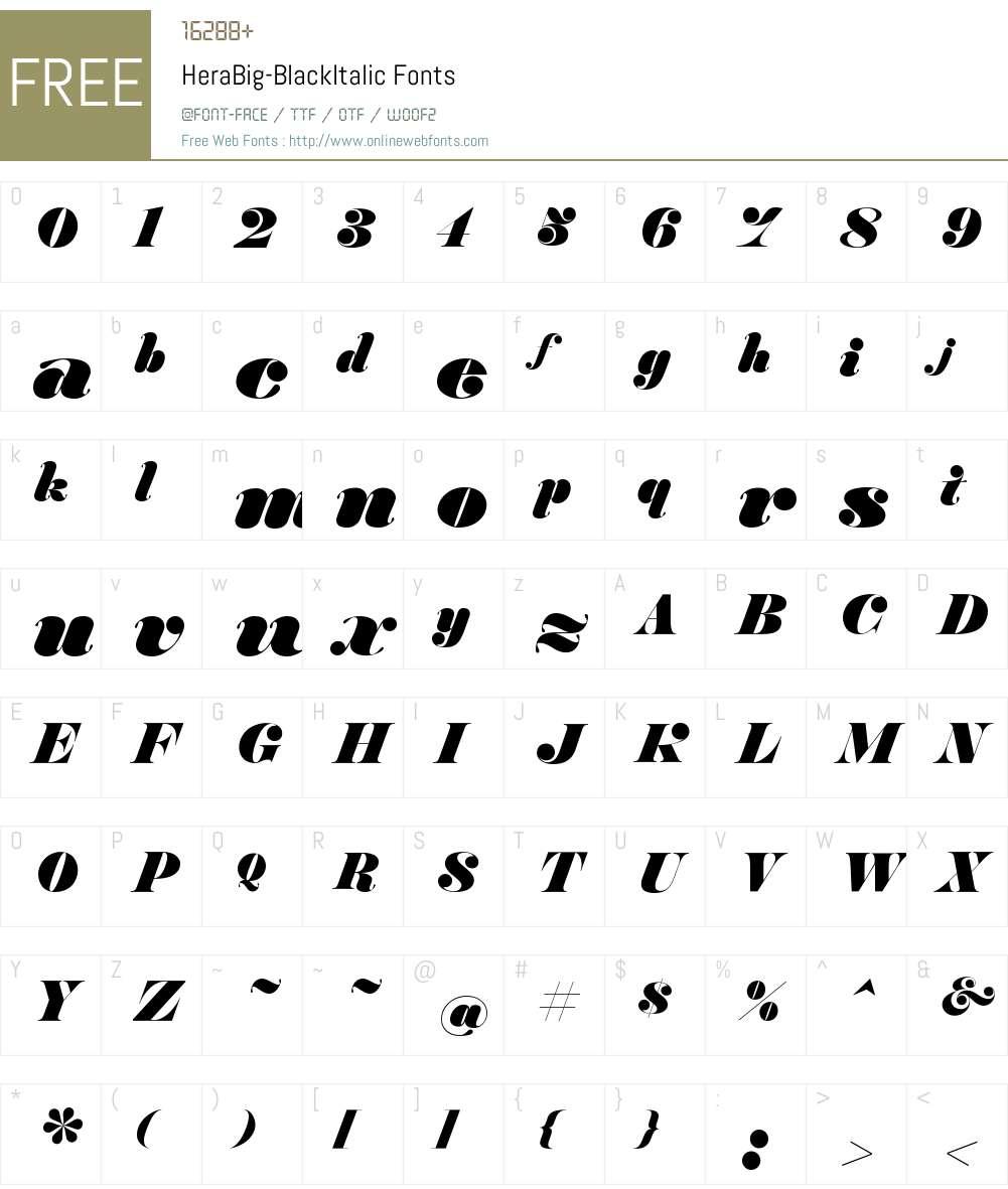 Hera Big Black Italic Font Screenshots