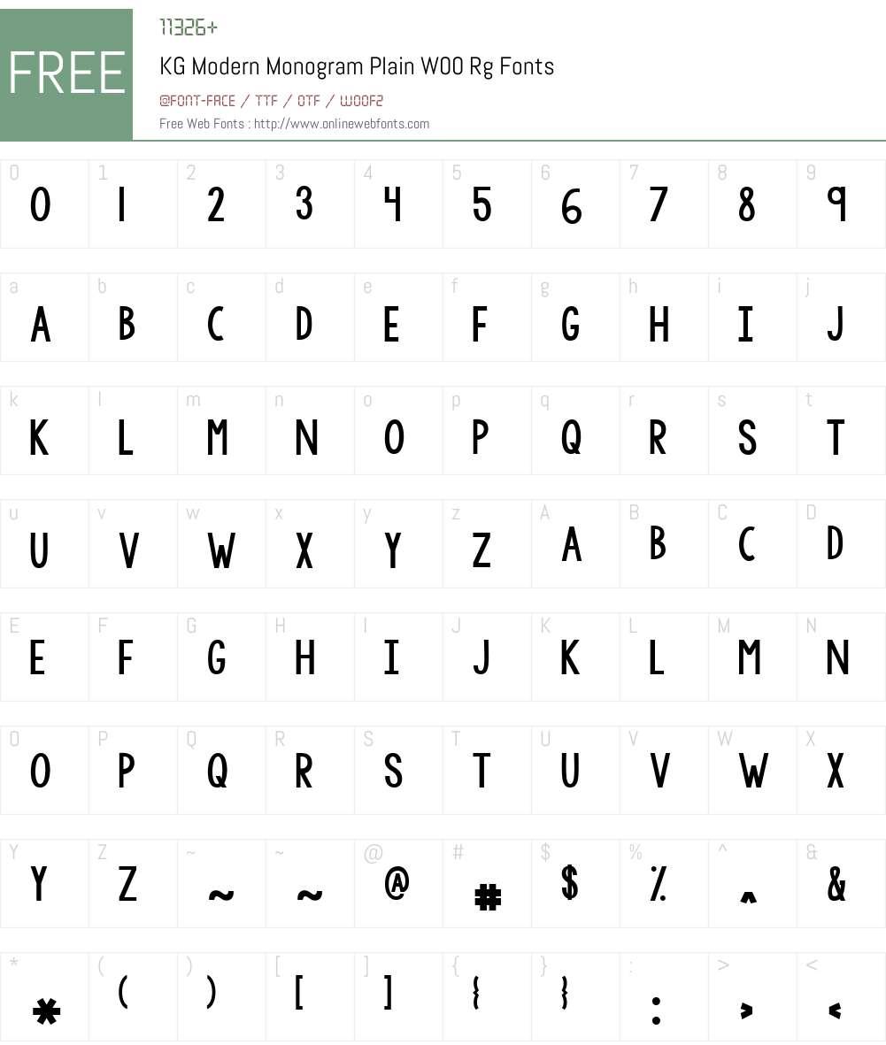 KGModernMonogramPlainW00- Font Screenshots