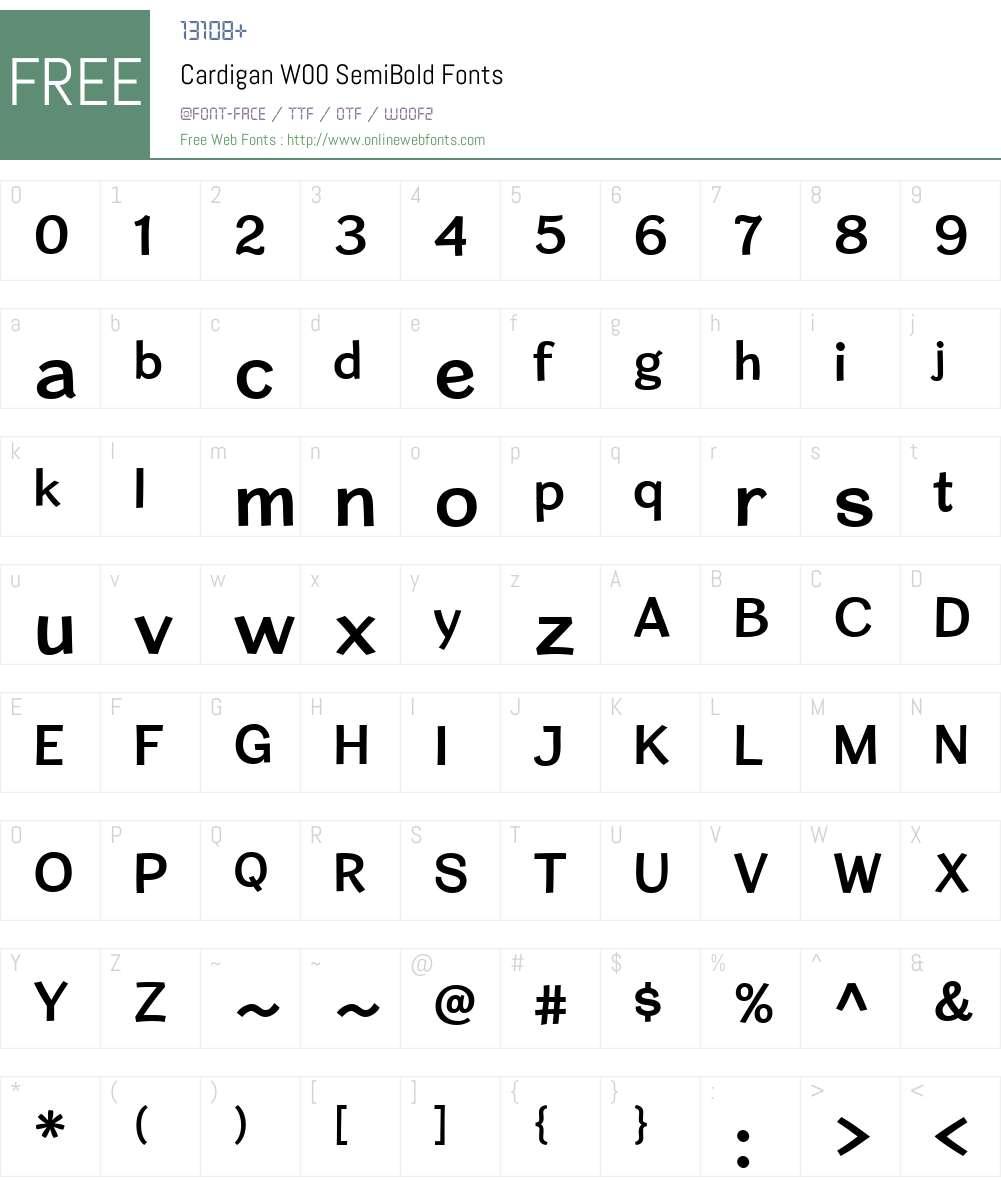CardiganW00-SemiBold Font Screenshots