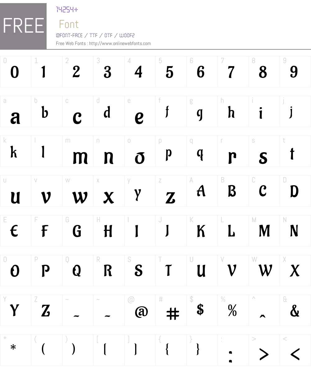 Aladin Font Screenshots