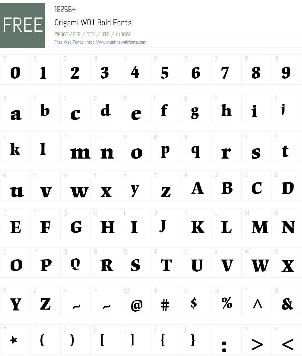 OrigamiW01-Bold Font Screenshots