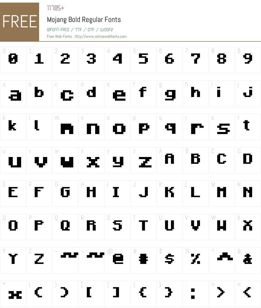 Mojang Bold Font Screenshots