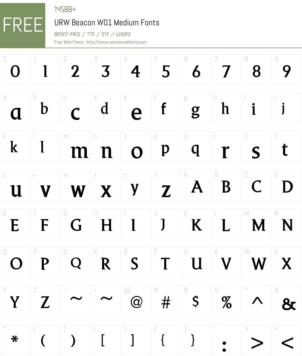 URWBeaconW01-Medium Font Screenshots