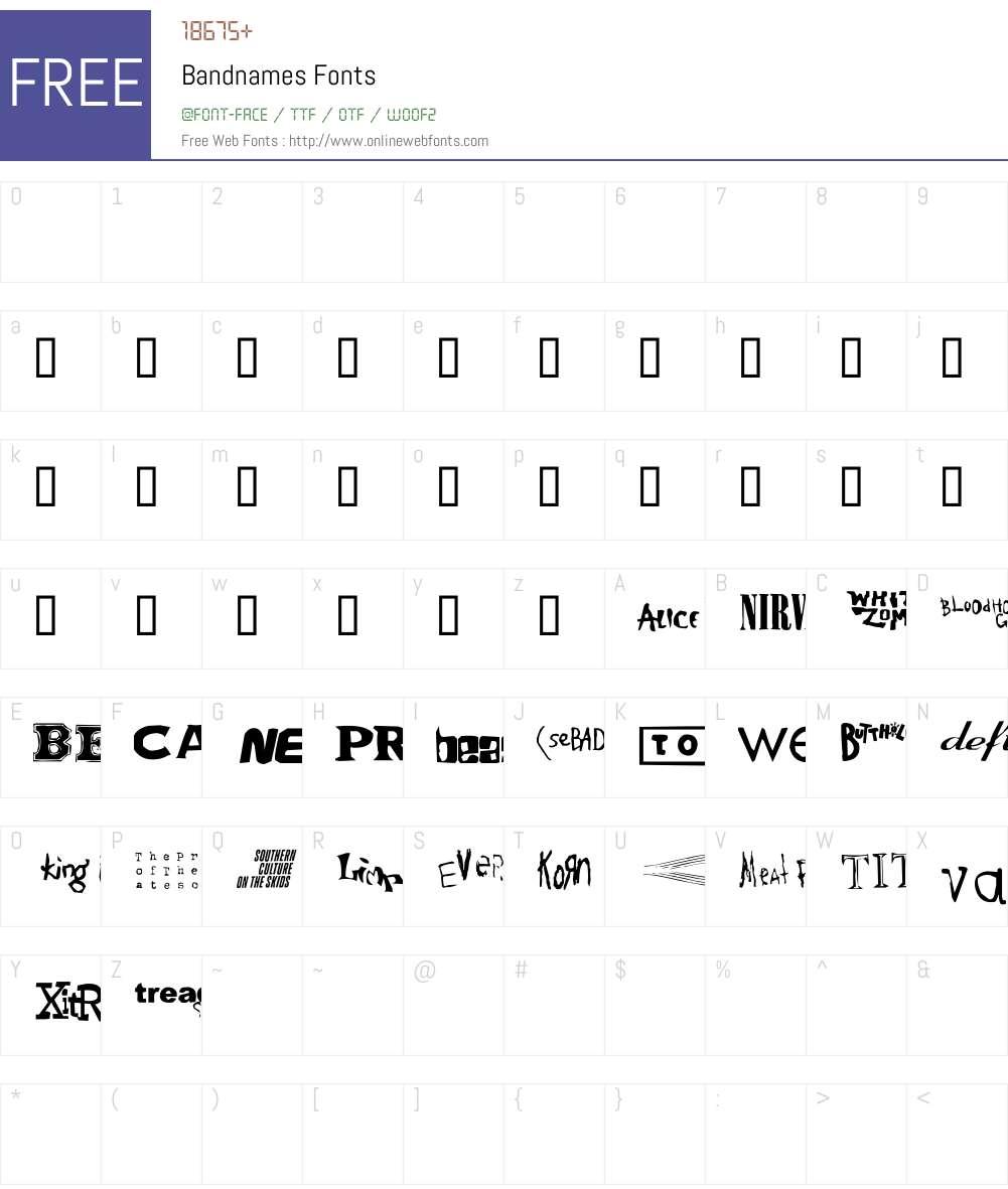Bandnames Font Screenshots