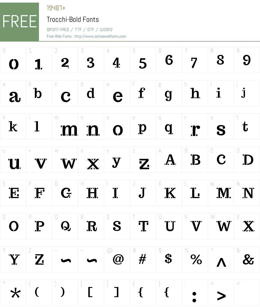 Trocchi Bold Stencil Font Screenshots