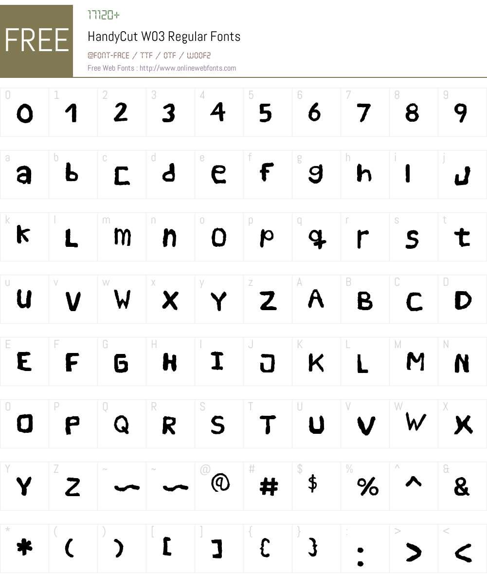 Handy Cut Font Screenshots