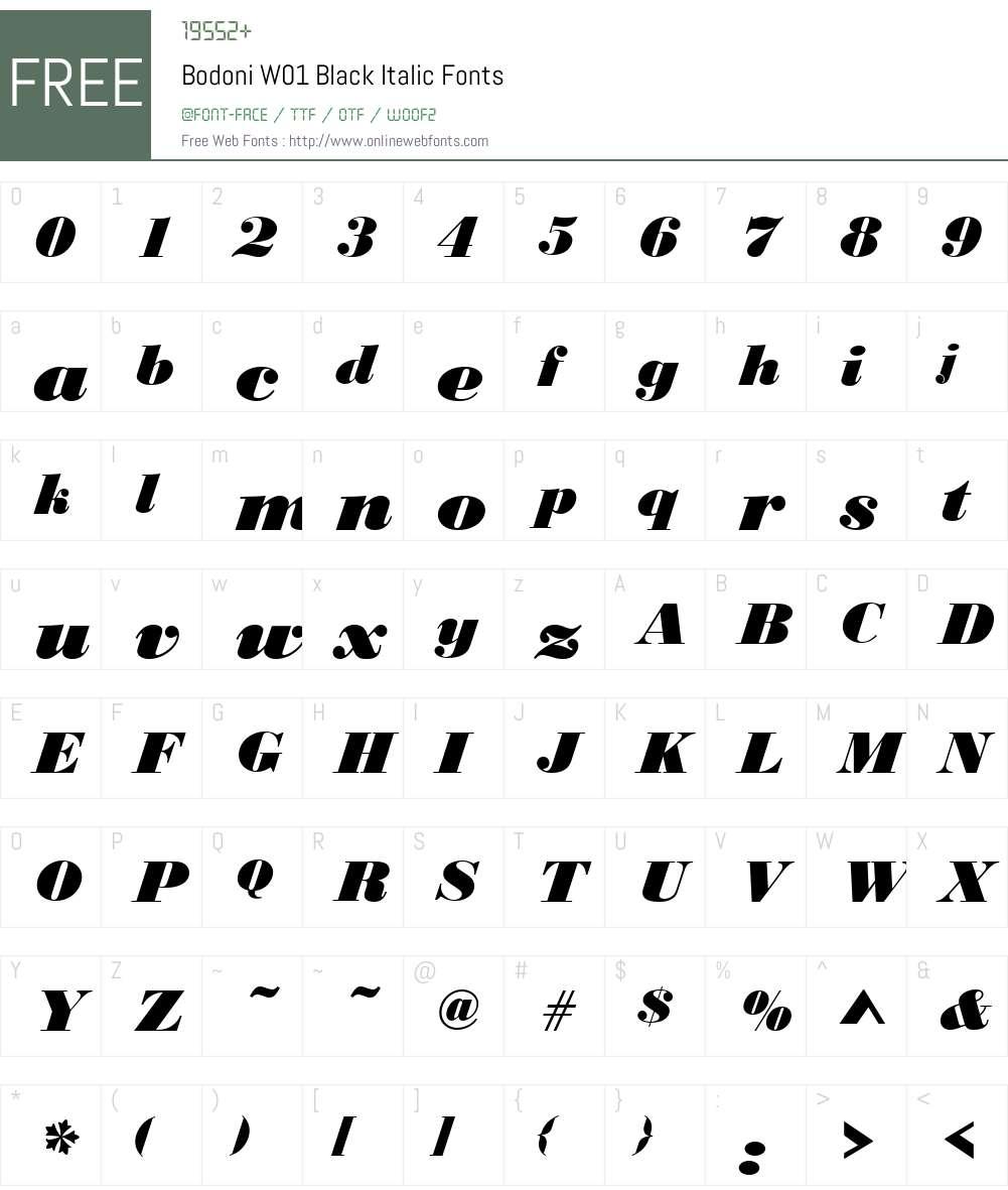 BodoniW01-BlackItalic Font Screenshots