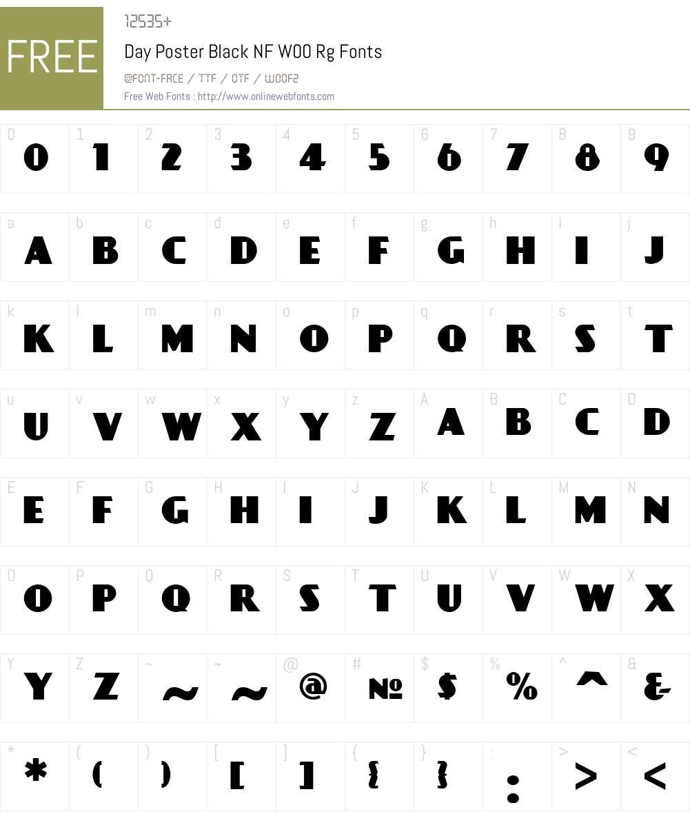 DayPosterBlackNFW00-Regular Font Screenshots