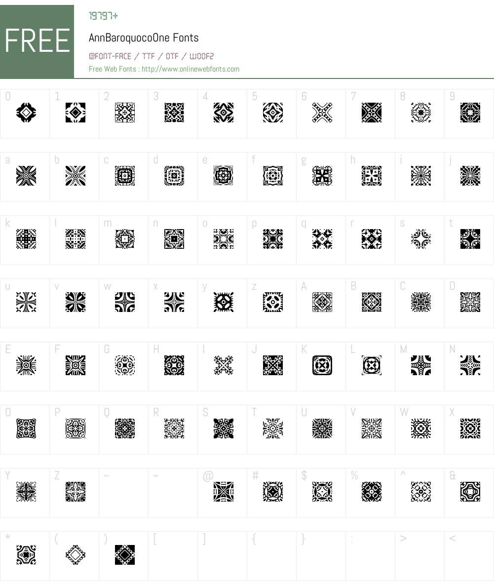 BaroquocoW95-One Font Screenshots