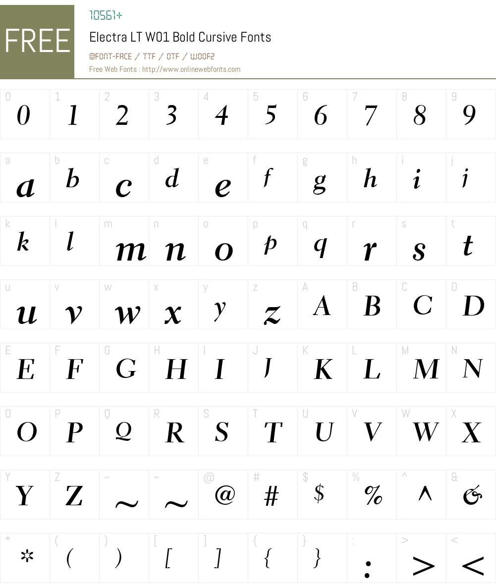 ElectraLTW01-BoldCursive Font Screenshots