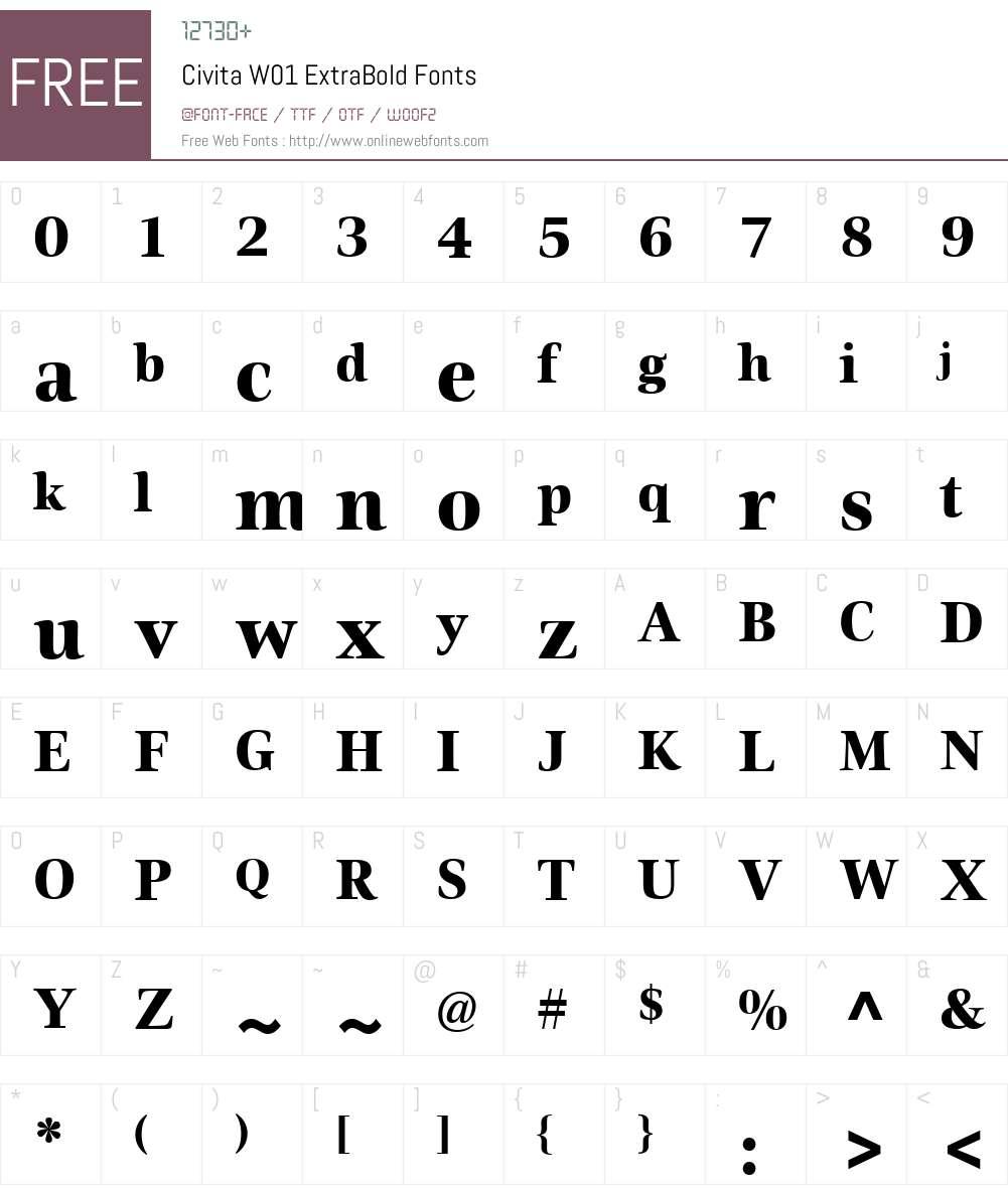 CivitaW01-ExtraBold Font Screenshots
