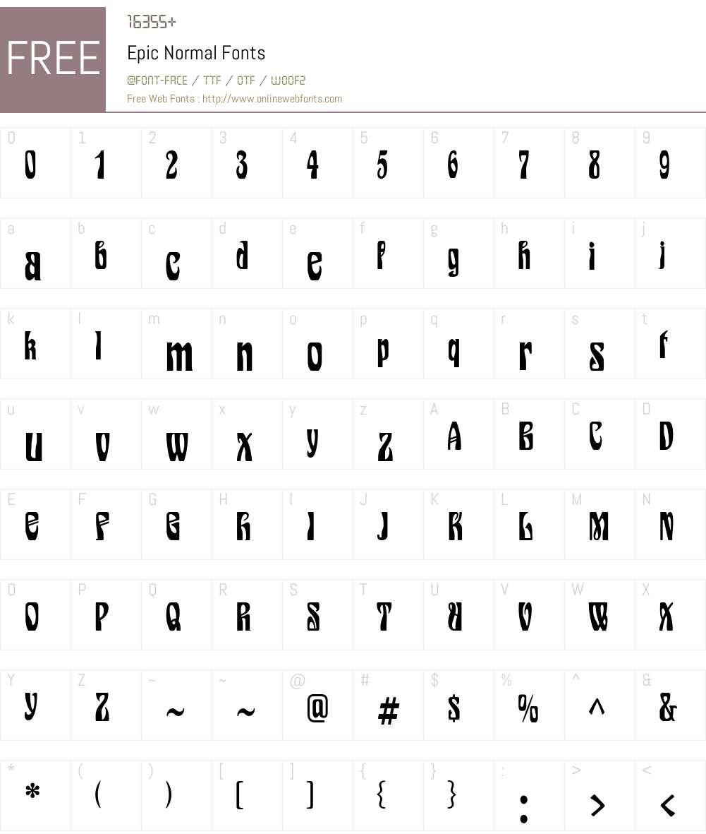 Epic Font Screenshots