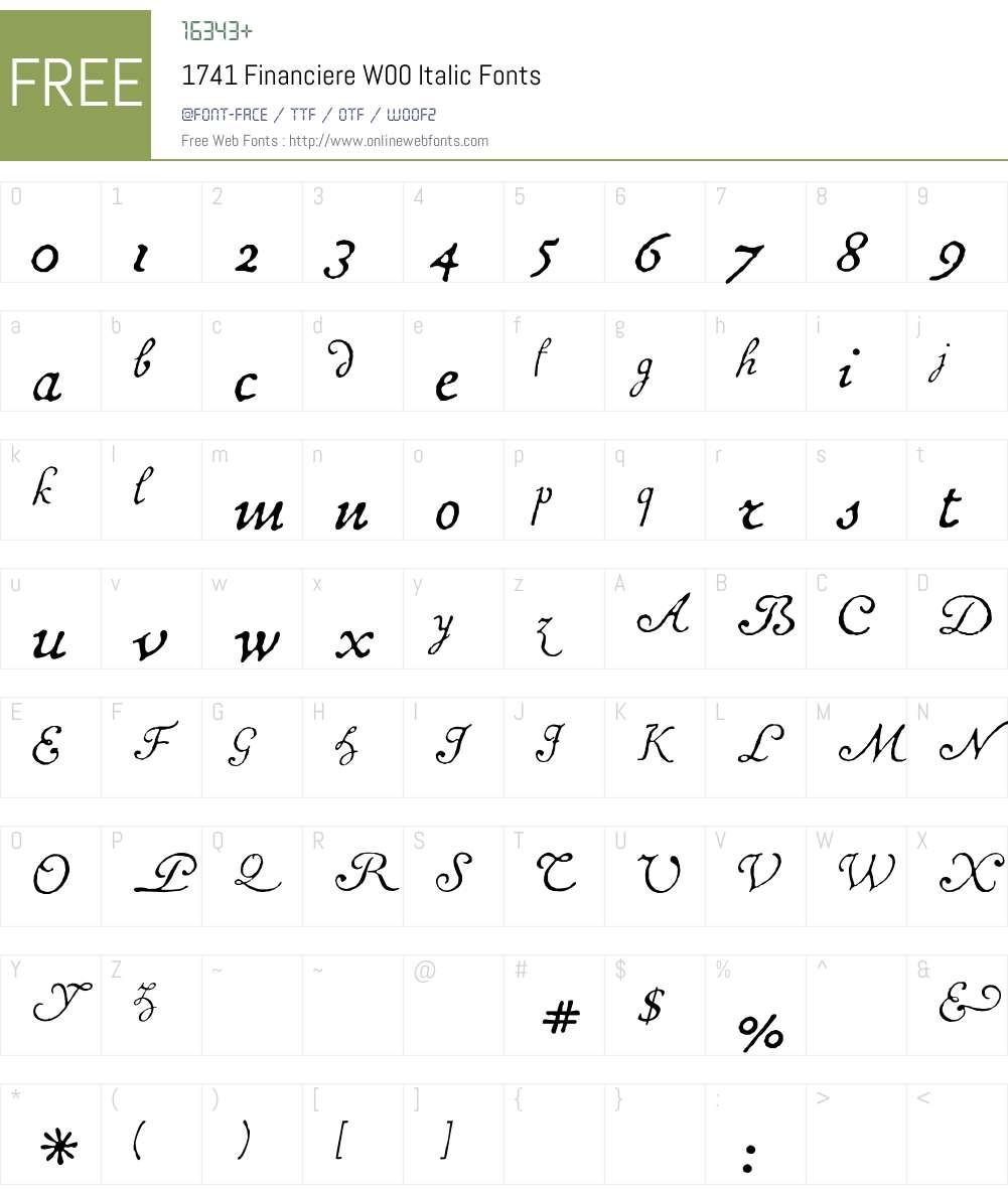 1741FinanciereW00-Italic Font Screenshots
