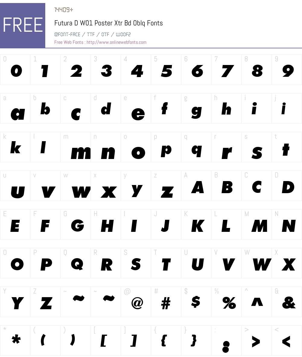 FuturaDW01-PosterXtrBdOblq Font Screenshots