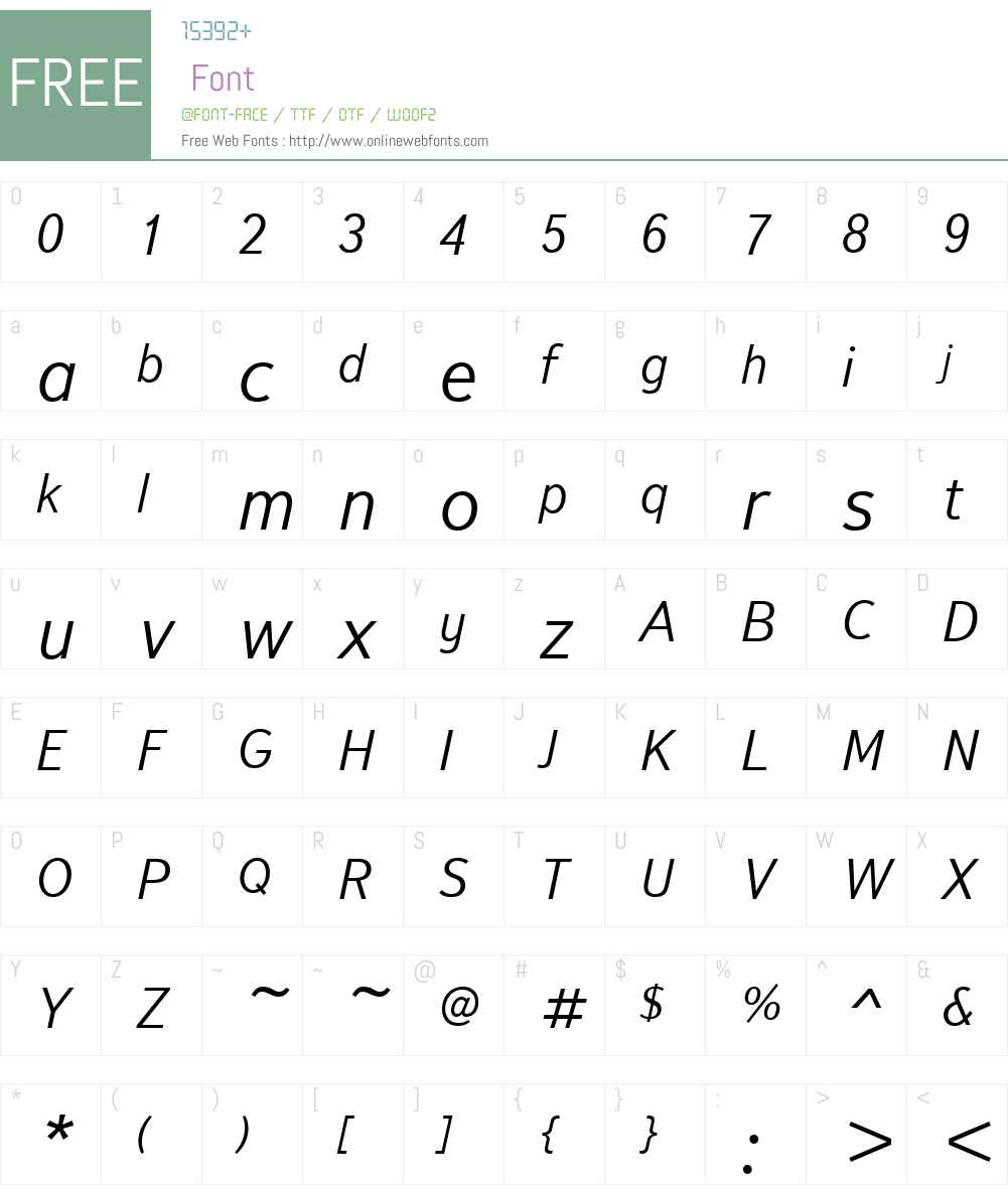 TextbookNewW01-LightItalic Font Screenshots