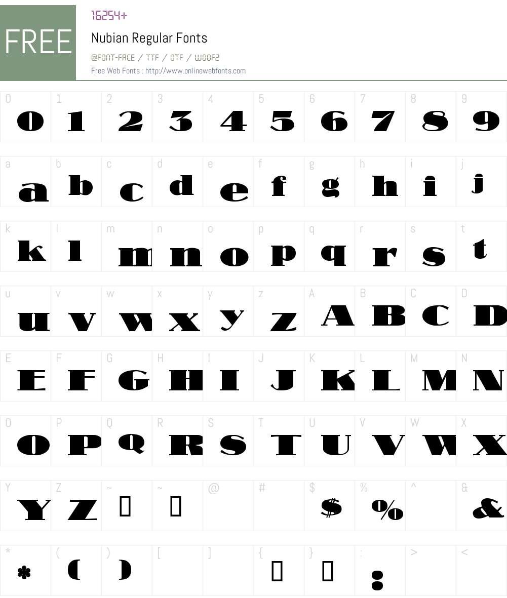 Nubian Font Screenshots