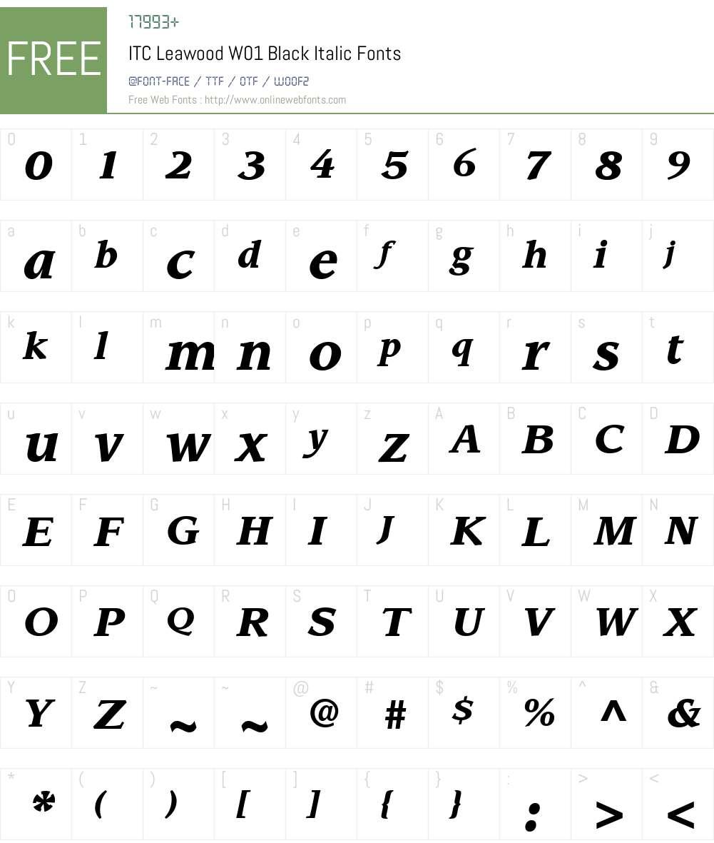 ITCLeawoodW01-BlackItalic Font Screenshots