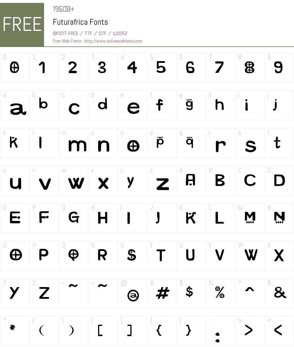 Futurafrica Font Screenshots