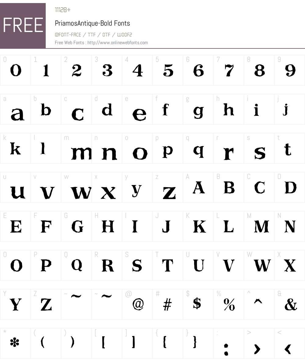 PriamosAntique Font Screenshots