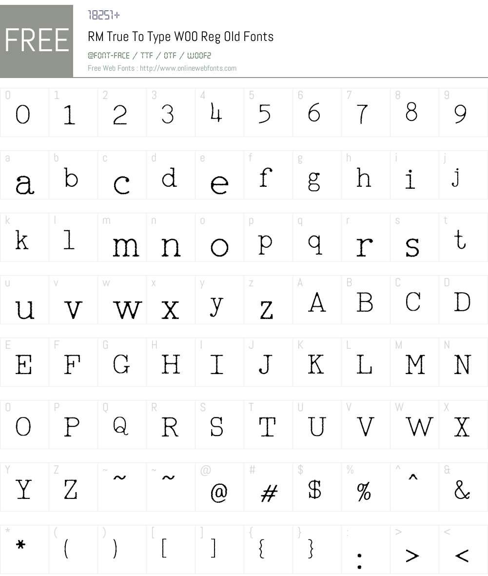 RMTrueToTypeW00-RegOld Font Screenshots