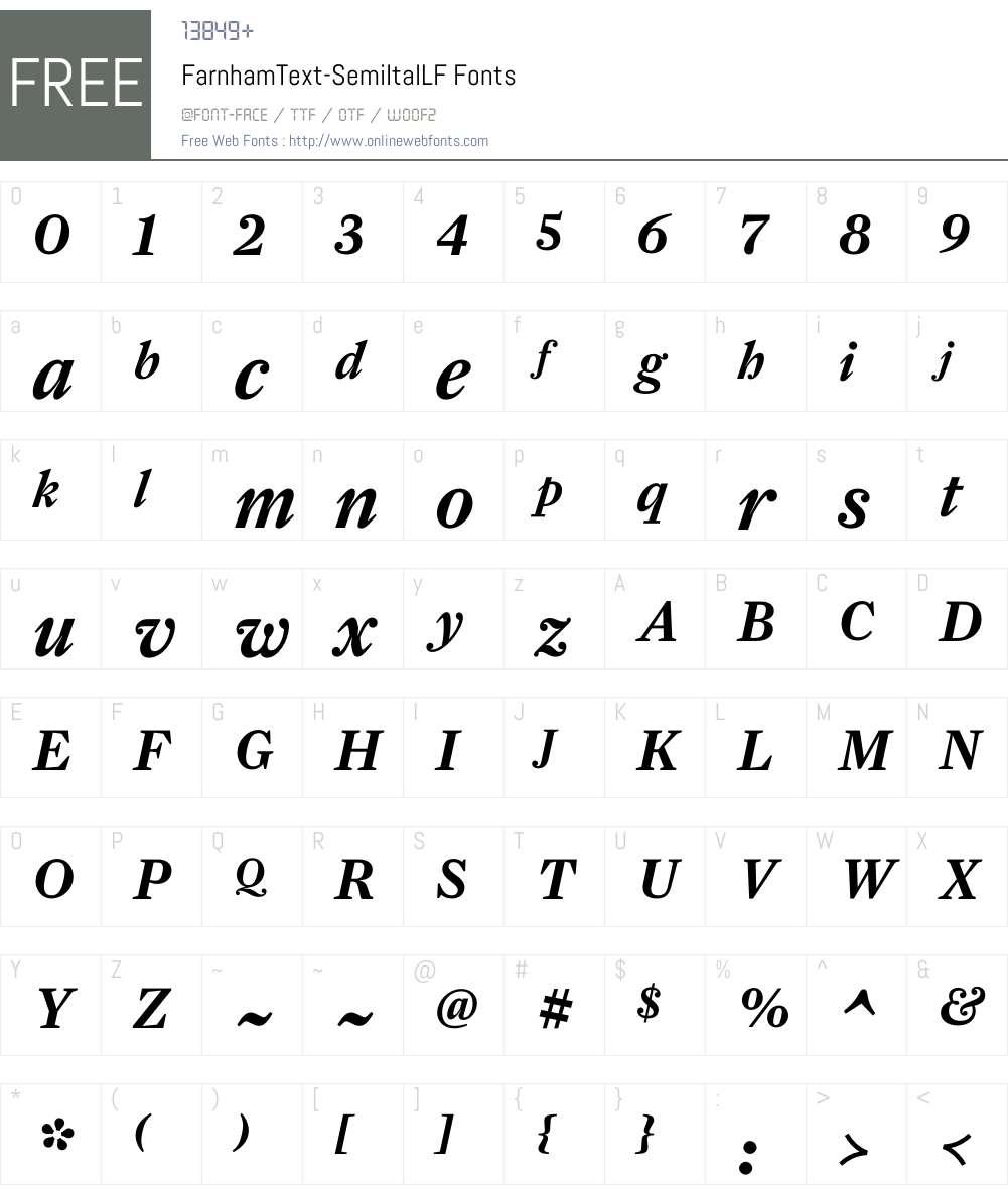 FarnhamText-SemiItalLF Font Screenshots