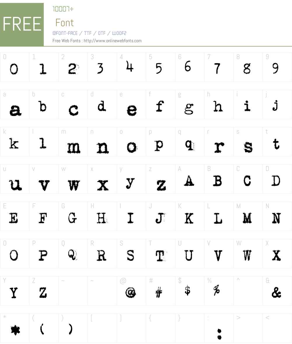 VintageTypewriter Font Screenshots