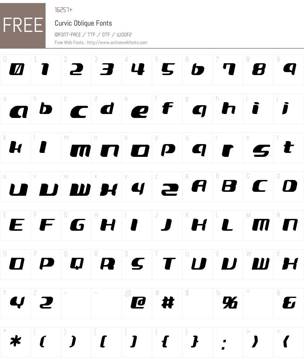 Curvic Font Screenshots