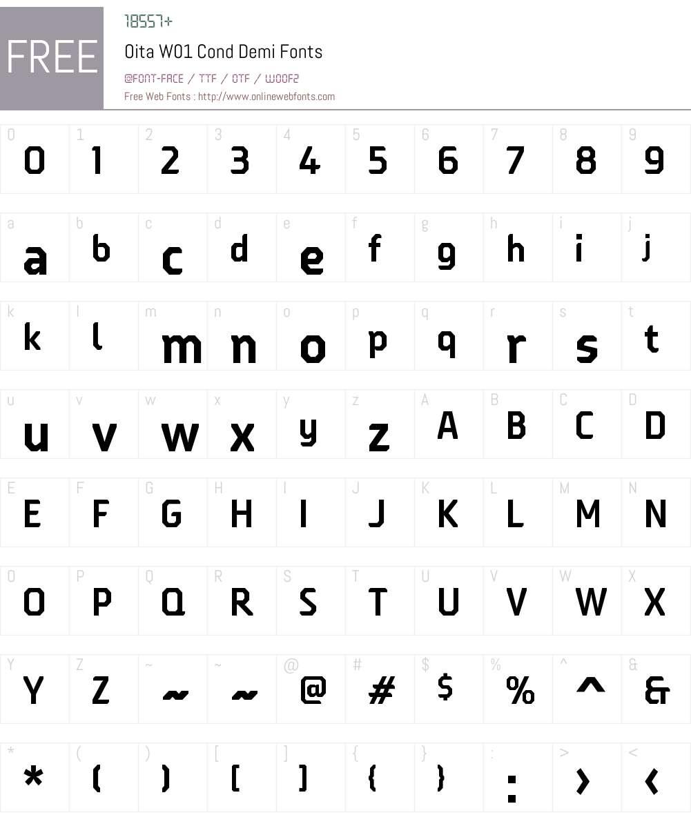OitaW01-CondDemi Font Screenshots