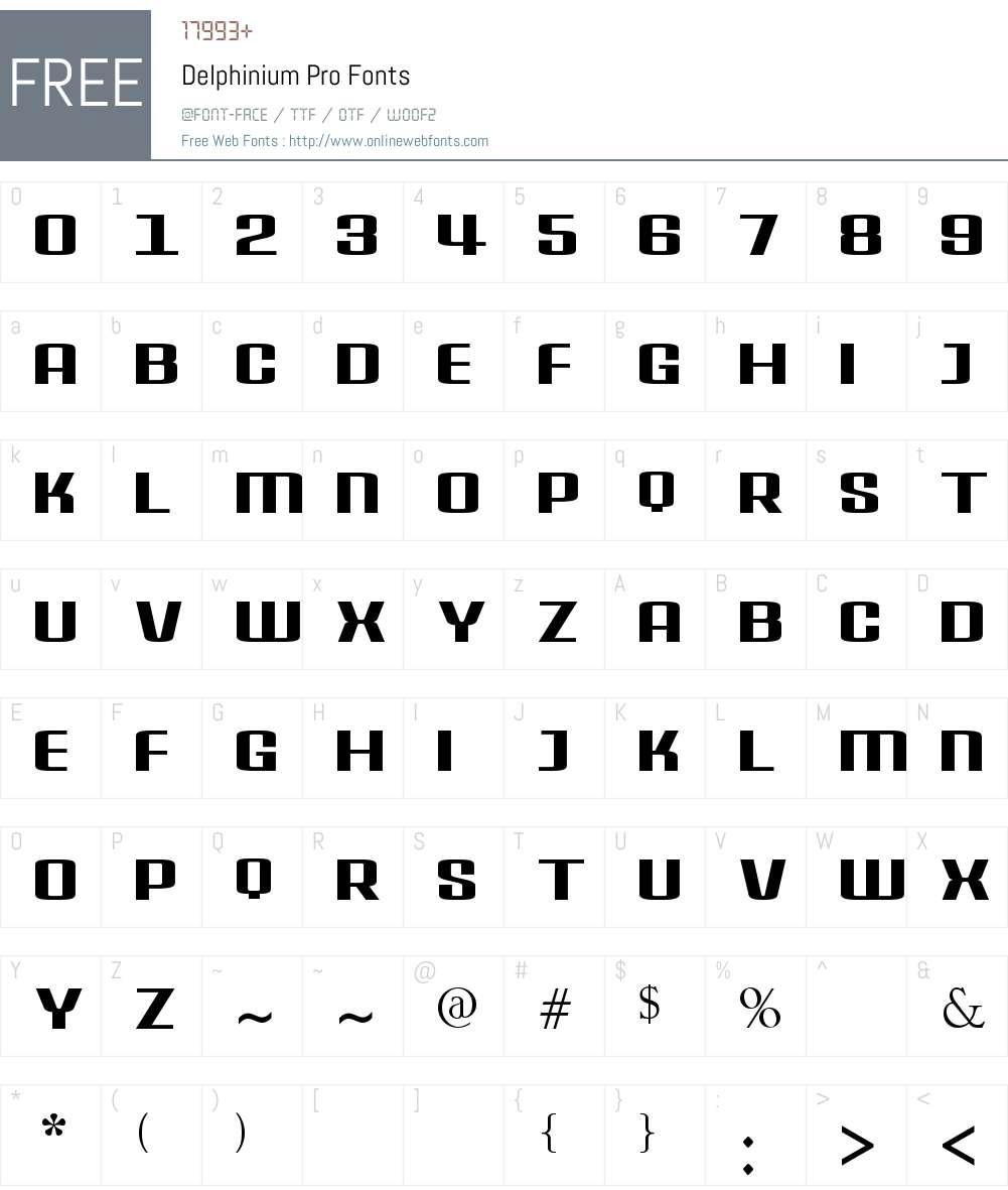 Delphinium Pro Font Screenshots