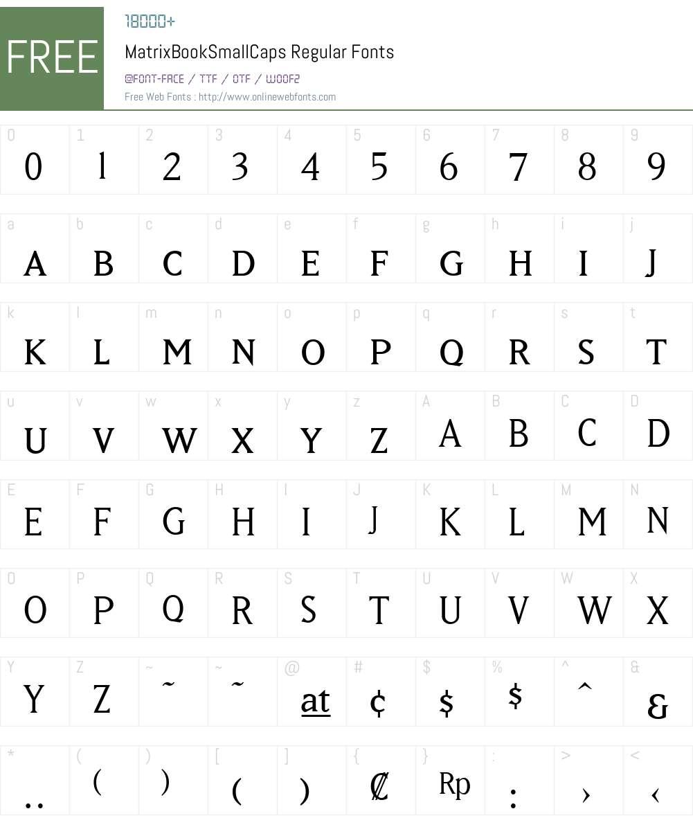 MatrixBookSmallCaps Font Screenshots