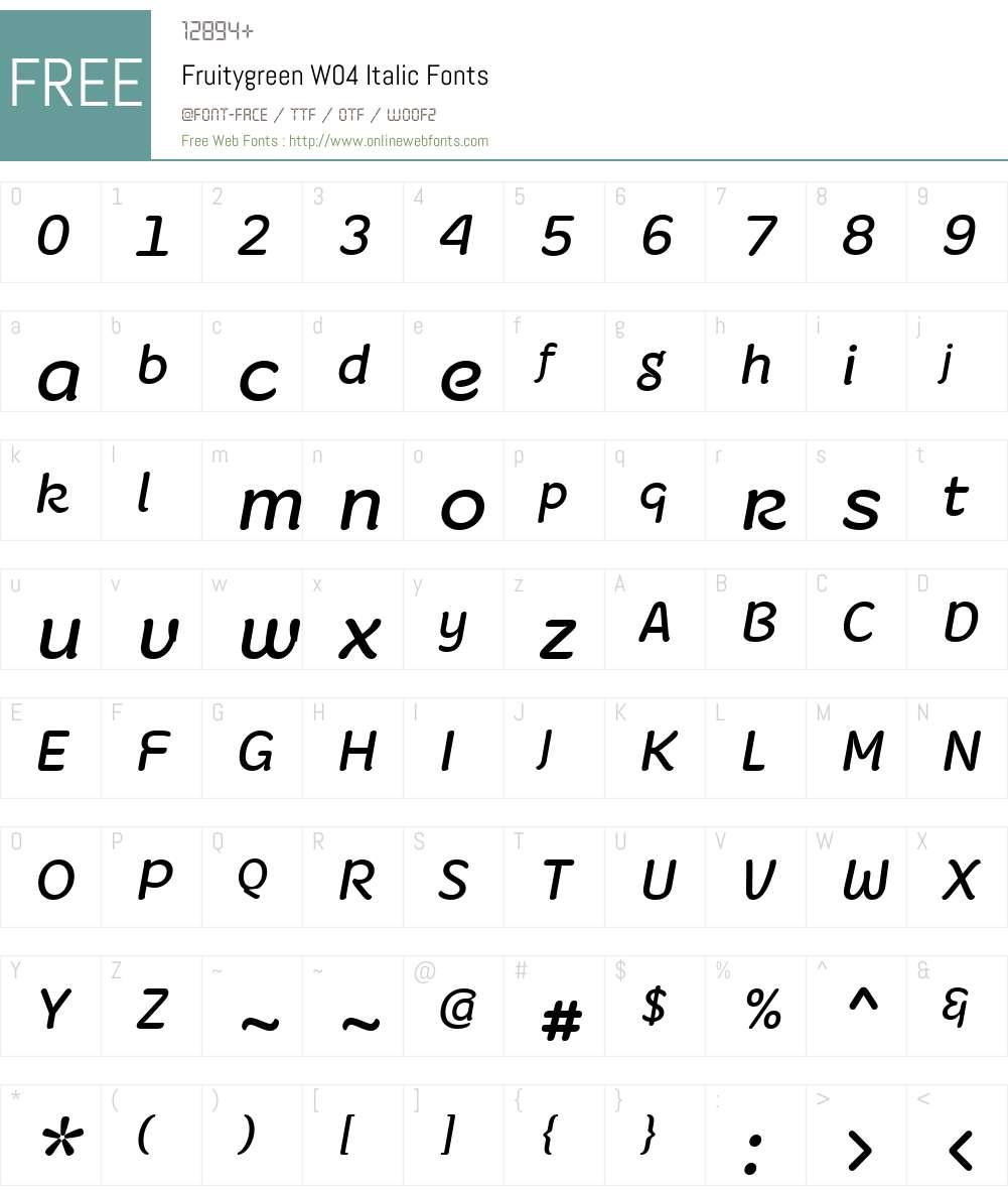 Fruitygreen Font Screenshots