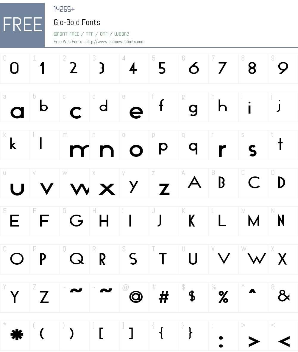 Glo-Bold Font Screenshots