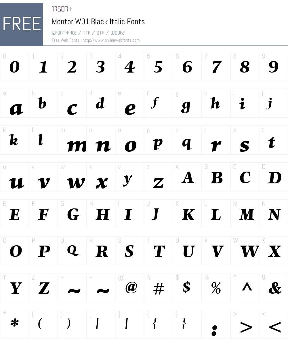 MentorW01-BlackItalic Font Screenshots